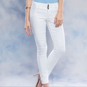 Pants - Basic White Denim Hip up Skinny